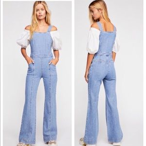 New Free People Aurora Blue Denim One-Piece